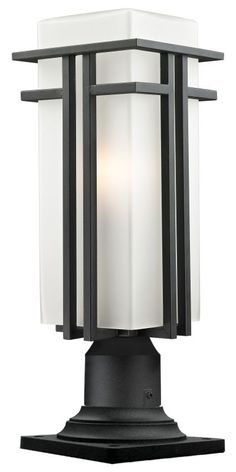 View the Z-Lite 549PHBR-533PM Abbey 1 Light Outdoor Pier Mount Light with Matte Opal Shade at LightingDirect.com.