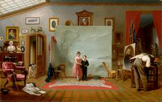 Interior with Portraits, by Thomas Le Clear, 1865