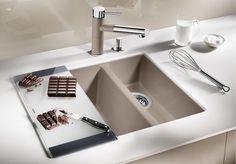 Lavello a una vasca e mezzo da incasso in Silgranit® BLANCO SUBLINE 340/160-U by Blanco