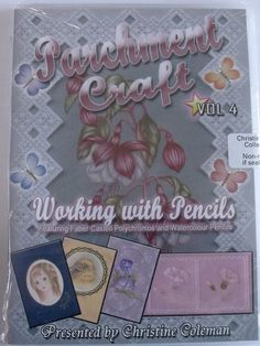 PARCHMENT CRAFT - WORKING WITH PENCILS DVD VOL 4 BY CHRISTINE COLEMAN      If you like using coloured pencils you will enjoy the projects on this DVD. Demonstrations for using polychromatic pencils and water colour pencils and plenty of advice like the importance of keeping the pencils sharp. The projects include flowers, a face, a bird and a lovely final project fuschia which has a lovely grid work frame and is large enough to use as a picture