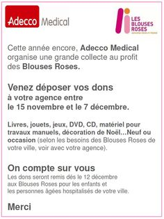 Adecco Medical soutient les Blouses Roses