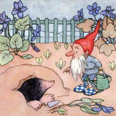 Garden Gnome Card - Mole in the Garden Greeting Card Repro Morpurgo
