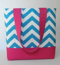 Bright Turquoise and White Chevron Tote by WrapItUpByG on Etsy, $24.00