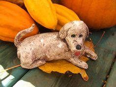 Look as you may, you wont find another dog like this one! Personality Plus!!!!    This handmade cement or heavy plaster Labrador Retriever with