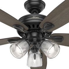 This fan brings together a variety of styles such as farmhouse hunter highbury ii 52 in led indoor matte black ceiling fan with light kit aloadofball Image collections