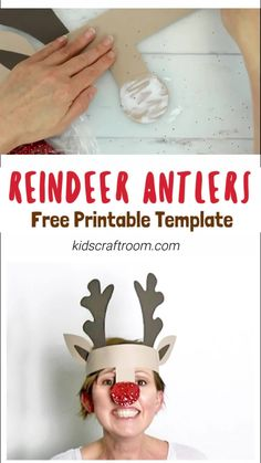 PRINTABLE REINDEER ANTLERS HAT - Make your own cute Reindeer Antlers headband. This kids Christmas craft is so fun! Print the free template onto plain card to paint or trace it straight onto coloured card. An easy and adorable kids craft for the Christmas Childrens Christmas Crafts, Christmas Crafts For Kids To Make, Easy Halloween Crafts, Xmas Crafts, Christmas Fun, Christmas Card Ideas With Kids, Santa Crafts, Children Crafts, Reindeer Christmas