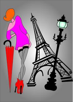 Paris,kobieta,ilustracja