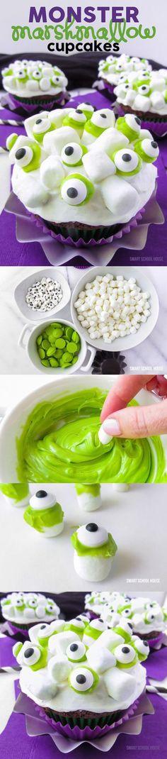 How to make Monster Marshmallow Cupcakes. A Halloween dessert recipe idea that kids love.