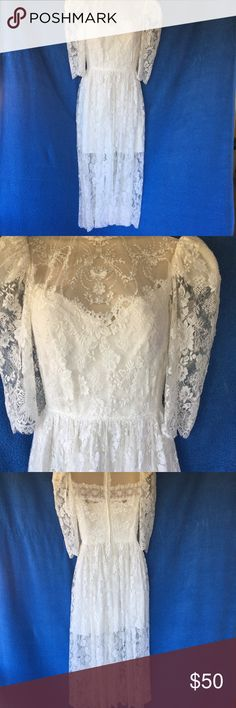 💐Vintage Lace Dress - So Beautiful 😍 Hippie Chic 💐Vintage Lace Dress with Mini Skirt Lining-- Gorgeous Hippie Chic Wedding 👰/ Special Occasion Vintage Dress 👗- Will fit an approx size 3/4/5. A Special Dress 👗 You Aren't Going To Find Everyday💐 Pit to Pit = W = L= . Smoke-Free Fashion Loving Posher 🌹 Top Seller & Fas Shipper with Many Happy Customers!😊 Vintage Dresses