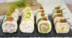 Rollitos de canapés con pan de molde ¡4 ideas ricas y muy fáciles para Navidad! Rainbow Fruit Skewers, Specialty Sandwiches, Peanut Butter Roll, Decadent Cakes, Homemade Teriyaki Sauce, Food Crush, Xmas Food, Baked Salmon, Food Inspiration