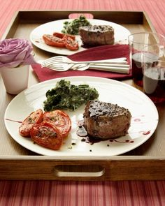 Pepper-Crusted Filet Mignon with easy red wine sauce - just wine and butter