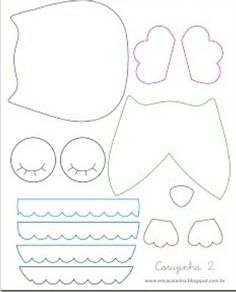 Amichevole Felt: Mold I gufi di Erica Catarina Owl Patterns, Applique Patterns, Sewing Patterns, Fabric Crafts, Sewing Crafts, Sewing Projects, Owl Templates, Applique Templates, Felt Owls