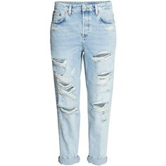 Boyfriend Low Ripped Jeans $39.99 (130 PEN) ❤ liked on Polyvore featuring jeans, pants, bottoms, pantalones, calça, ankle jeans, high waisted denim jeans, h&m jeans, dark denim jeans and zipper jeans