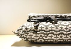 "Organic Toddler bedding set for boys- ORGANIC cotton- Pillowcase and Duvet cover- ""Grey Mustache allover"" on Etsy, $85.00."
