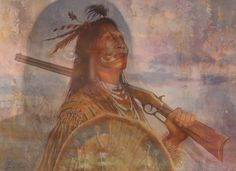 Native American, maiden watching, photo fun trick art
