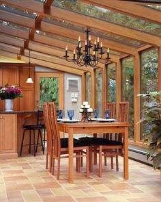Lindal Cedar Homes: worldwide manufacturer of post and beam homes, solid cedar homes, custom log homes, sunrooms and room additions. Lindal Cedar Homes, Build Your Dream Home, My Dream Home, Sunroom Kitchen, Kitchen Dining, Dining Area, Dining Rooms, Pergola, Sunroom Addition