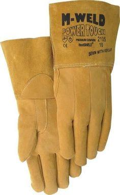 Majestic 2105 Gold Split Deerskin Leather TIG Welders Gloves Unlined Gauntlet Cuff (DOZEN)