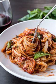 Italian Sausage Linguini with Asparagus, Spinach & Artichokes | thecozyapron.com