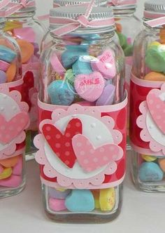 "Cute Teacher or Friend Gift...glass jar filled with conversation heart candies and a cardstock ""label"" with hearts."