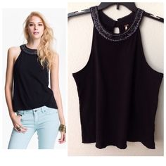"""Free People tank Free People necklace tank...Lavish beading creates a built-in accessory around the high neckline of a soft tank. Approx. length from shoulder: 23 1/2""""....brand new, tags attached. No trades. Free People Tops"""