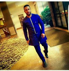 African Clothing For Men, African Men Fashion, Mens Fashion, Royal Blue Color, Embroidered Clothes, Family Outfits, White Man, Workout Pants, Traditional Outfits