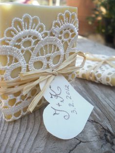 Chels was just telling me about this last night.  And to add a little piece of lavender.  :) Wedding favors- Organic soap wrapped in lace