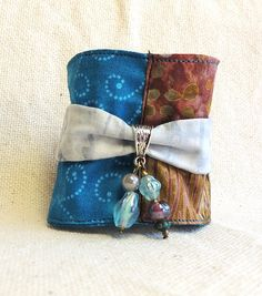 Fabric Cuff Bracelet with button of polymer clay by Montse on Etsy