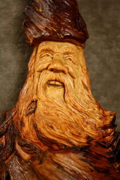 Wood Spirit Wood Carving Wooden Christmas by TreeWizWoodCarvings, $85.00