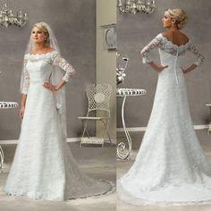 A-Line Off-the-Shoulder Lace Wedding Dress