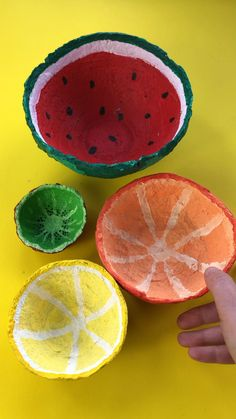 Upcycled old paper and turn it into these fabulous Summer Fruits Paper bowls! Love all the designs for the watermelon, lemon, orange and kiwi fruit! And you will LOVE the easy process for making the bowls (suitable for young kids too! Paper Mache Crafts For Kids, Paper Mache Projects, Diy Crafts For Kids, Art For Kids, Paper Crafts, How To Paper Mache, Making Paper Mache, Craft Projects For Kids, Paper Mache Bowls