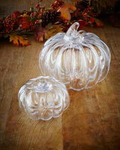 Glass Pumpkins by Simon Pearce at Neiman Marcus.
