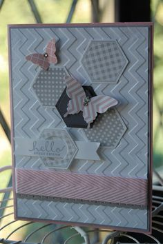 Chevron embossed bkgd, hexagon stamps/punches, butterfly stamps/punches, chevron ribbon...pretty!