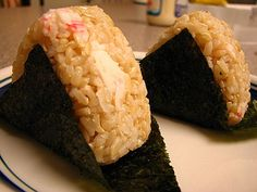 Onigiri with imitation crab meat mixture filling