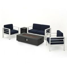 Crested Bay Outdoor 5 Piece White Aluminum Chat Set with Navy Blue Water Resistant Cushions and Dark Grey Rectangular Fire Pit * Wonderful of your presence to drop by to visit the image. (This is our affiliate link) Rectangular Fire Pit, 3 Piece Sofa, Rattan Sofa, Fire Pit Table, Cape Coral, Outdoor Seating, Club Chairs, Sofa Set, Outdoor Furniture Sets