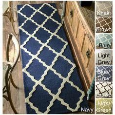 Grovelane Teen Alondra Moroccan Trellis Hand-Hooked Wool Navy Blue Area Rug Rug Size: Runner x