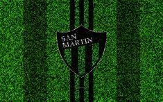 Télécharger fonds d'écran San Martín de San Juan, 4k, football de la pelouse, le logo, l'Argentin du club de football, texture d'herbe, noir vert lignes, Superliga, San Juan, l'Argentine, le football, l'Argentine Primera Division, Superleague, San Martin SJ FC