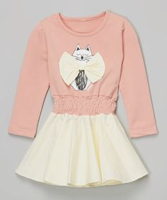 Another great find on #zulily! Pink & White Cat Bow Dress - Infant, Toddler & Girls #zulilyfinds