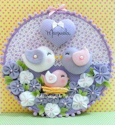 Felt Crafts Diy, Baby Crafts, Crafts For Kids, Arts And Crafts, Felt Flowers, Fabric Flowers, Baby Mobile, Felt Baby, Fabric Birds