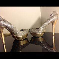 Poshfest 2015 Party Host Pick Jen. Lo. pumps Gold silver sequin/glitter sparkly heels with golden heels and platform. Upper textile. Lining man made/leather. socklining man made. Outersole textile/man made. Jennifer Lopez Shoes Platforms