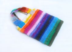 Crochet Beach Bag Tote Bag Rainbow Colorful Yarn Big Handbag with Magnetic Closure Hippie Country Boho - pinned by pin4etsy.com