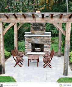 Outdoor Fireplace Ideas. This one is more rustic!