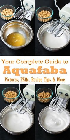 Aquafaba: Your Guide to this Vegan Egg Substitute (Pictures!) Aquafaba – Your Complete Guide to this Vegan Substitute with FAQs, Step by Step Pictures, and Vegan Sauces, Vegan Dishes, Vegan Vegetarian, Vegetarian Recipes, Aquafaba Recipes, Vegan Egg Substitute, Fromage Vegan, Vegan Substitutes, Cooking Tips