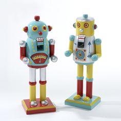 WOODEN ROBOT NUTCRACKER - LIGHT BLUE AND YELLOW ITEM # C6218