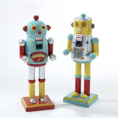WOODEN ROBOT NUTCRACKER - LIGHT BLUE AND YELLOW ITEM # C6218