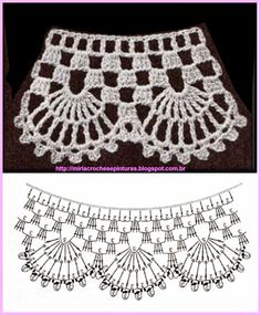 How To Crochet A Poncho: - Scarfs Crochet Crochet Boarders, Crochet Edging Patterns, Crochet Lace Edging, Crochet Diagram, Crochet Chart, Crochet Designs, Col Crochet, Crochet Collar, Filet Crochet