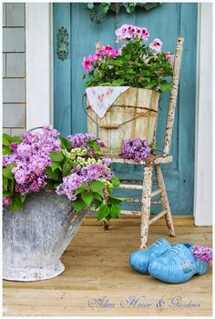 Shabby Chic, vintage chair, galvanized bucket, flower pots, front porch