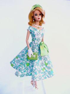 OOAK Barbie Silkstone Outfit Tea Lenght Dress Blue Set