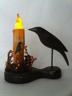 """Primitive CROW Holder & 4"""" TIMER IVORY CROW BEESWAX Candle & Pip Ring Set Grungy"""