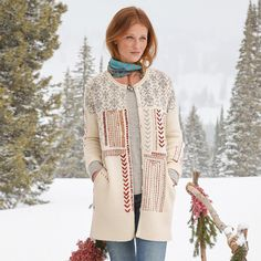 VICTORIA CARDIGAN: View 1 - Jacquard weave yoke and hand-embroidered lambswool/nylon cardi.
