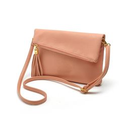 Small Fold Over Mini Leather Crossbody Bag